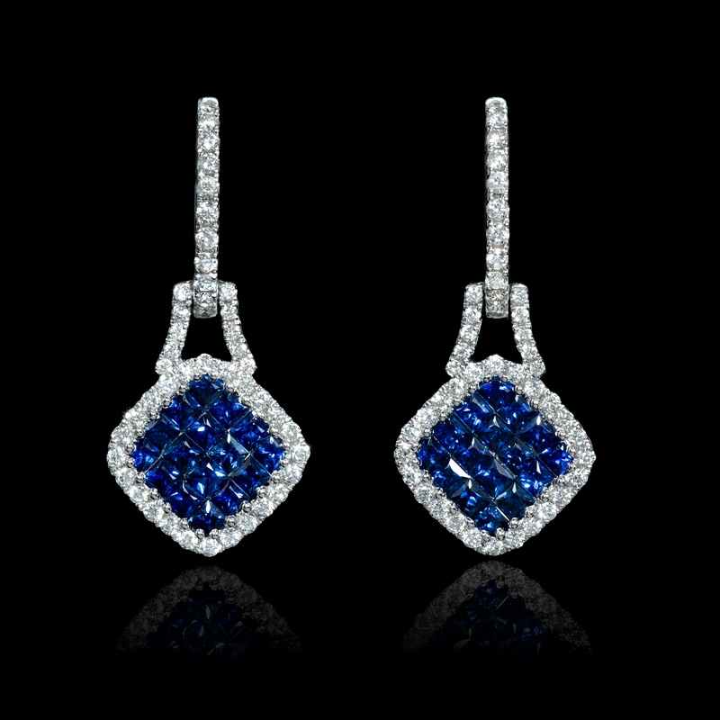 54 8ct sapphire dangle earrings 18 kt gold 54ct and blue sapphire 18k white gold dangle earrings