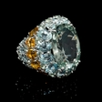21.90ct Green Sapphire Green Amethyst Aquamarine and Citrine 18k White Gold Ring