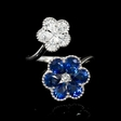 .67ct Diamond and Blue Sapphire 18k White Gold Ring