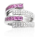 GARAVELLI 18K WHITE GOLD DIAMOND & PINK TOURMALINE RING