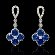 .23ct Diamond and Blue Sapphire 18k White Gold Dangle Earrings