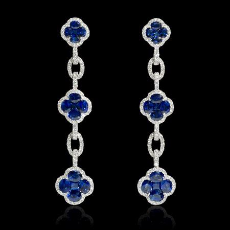 .50ct Diamond and Blue Sapphire 18k White Gold Dangle Earrings