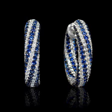 1.11ct Diamond and Blue Sapphire 18k White Gold Huggie Earrings