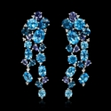 Blue Topaz and Iolites 18k white gold dangle earrings