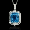 Diamond and Blue Topaz 18k White Gold Pendant