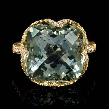 Diamond and Green Amethyst 18k Yellow Gold Ring