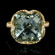 .45ct Diamond and Green Amethyst 18k Yellow Gold Ring