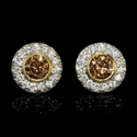 Diamond 18k Two Tone Gold Cluster Earrings