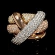 2.11cts Diamond 18k White Yellow and Rose Gold Ring