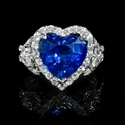 Diamond and Blue Heart Sapphire 18k White Gold Ring