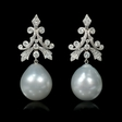 .64ct Diamond and South Sea Pearls 18k White Gold Dangle Earrings