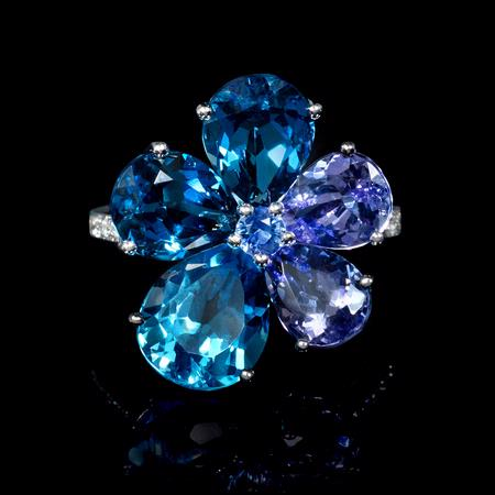 Diamond Tanzanite Blue Topaz and Blue Sapphire 18k White Gold Ring