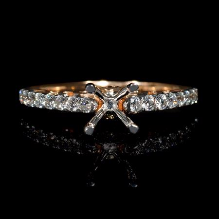 Diamond 18k Two Tone Gold Engagement Ring Setting