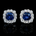 Diamond and Blue Sapphire 18k White Gold Cluster Earrings