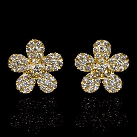 .52ct Diamond 18k Yellow Gold Cluster Earrings