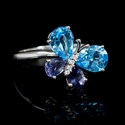 Diamond Blue Topaz and Tanzanite 18k White Gold Ring