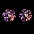 .09ct Diamond Pink Tourmaline and Purple Amethyst 18k Rose Gold Cluster Earrings