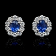 .65ct Diamond and Blue Sapphire 18k White Gold Cluster Earrings