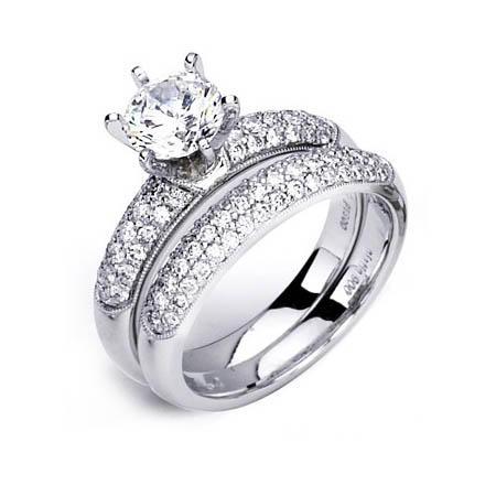 Simon G Diamond Antique Style Platinum Engagement Ring Setting And Wedding Band Set